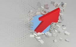 Red Arrow breaks a brick wall Royalty Free Stock Photo