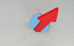 Red Arrow breaks a brick wall Stock Photo