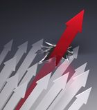 Red Arrow Breaks Through Glass Ceiling. 3D rendered image of a bunch of arrows, one of which, the red one powers over the rest, breaking through a glass barrier Royalty Free Stock Photo