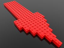 Red arrow build from toy bricks. In background royalty free illustration