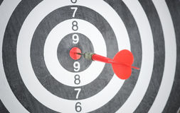 Red arrow on center of dartboard. concept business goal Stock Photos