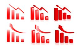 The red arrow chart  set Royalty Free Stock Photos