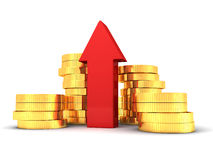 Red arrow and coins stacks grow up on white Stock Photo