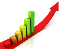 Red arrow and colorful bar graph on white Stock Image