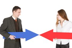 Red arrow contra blue one Stock Photography