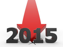 2015 - red arrow crash. 3d render illustration of a red arrow crashing on the ground behind 2015 text Stock Images