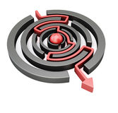 Red arrow crossing circular maze Royalty Free Stock Photography