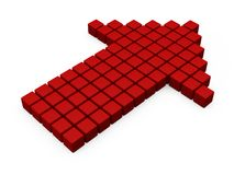 Red arrow from cubes. 3D render illustration Royalty Free Stock Images
