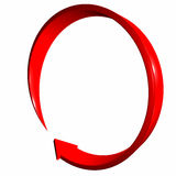 Red arrow 3d curve. Circle Royalty Free Stock Images