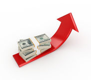 Red arrow and dollar packs. Royalty Free Stock Photo