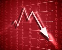 Red arrow down. Business arrow graphic moving down. world crisis Royalty Free Stock Image