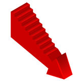 Red arrow down direction with staircase on side Stock Photography