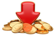 Red arrow down and golden coins, business concept. Isolated on a white background Royalty Free Stock Photos