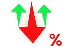 Red Arrow Down and green arrow up to Percent Stock Images