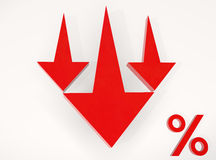 Red Arrow Down to Percent Royalty Free Stock Image