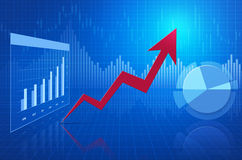 Red arrow on financial chart; success concept Stock Image