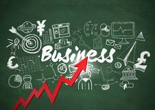 Red arrow and flare with white business doodles against green chalkboard Stock Images