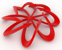 Red Arrow Flower. Thin 3d Arrow Shapes, isolated Royalty Free Stock Photos