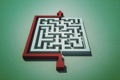 Red arrow going around puzzle Stock Image