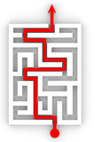 Red arrow going through the maze. Stock Image