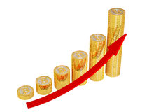 Red arrow and golden Bitcoins - growth chart on white background Stock Images