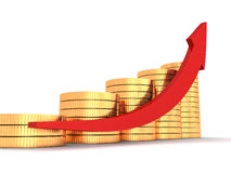 Red arrow and golden coins growth chart on white background. 3d Royalty Free Stock Photography