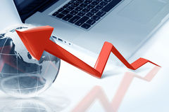 Red arrow graph. Showing high growth anything Stock Photos