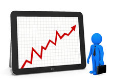 Red arrow graph. Chart on tablet Stock Photography
