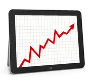 Red arrow graph. Chart on tablet Royalty Free Stock Photos