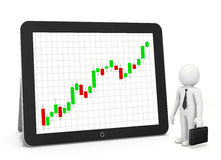 Red arrow graph. Chart on tablet Royalty Free Stock Image