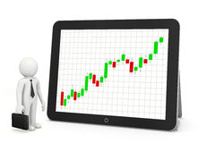 Red arrow graph. Chart on tablet Royalty Free Stock Photography