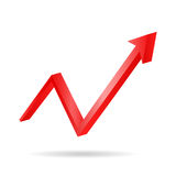 Red arrow graph directed upwards Stock Image