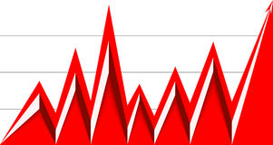 Red arrow graph down and goes up with a grid. Red arrow graph goes up on a white background Royalty Free Stock Photo