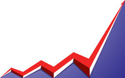 Red arrow graph goes up blue background. Red arrow graph goes up on a blue background Royalty Free Stock Image