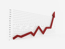 Red arrow on graph. Isolated Stock Photo
