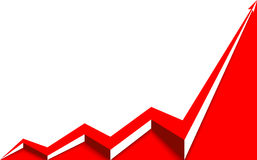 Red arrow graph rising white background. Red arrow graph goes up on a white background Stock Photography