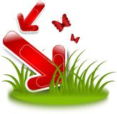 Red arrow in grass Royalty Free Stock Image