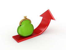 Red arrow and green purse. Royalty Free Stock Image