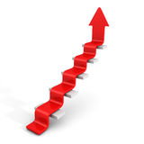 Red Arrow Growing Up On Staircase Ladder. Success Concept Stock Photos