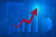 Red arrow head with financial chart and graph, success business Royalty Free Stock Images
