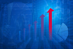 Red arrow head with Financial chart and graphs on city backgroun. D, blue tone Stock Photos
