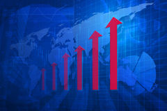 Red arrow head with financial graph and map on city background, Royalty Free Stock Photography