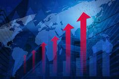 Red arrow head with financial graph and map on city background, Royalty Free Stock Image