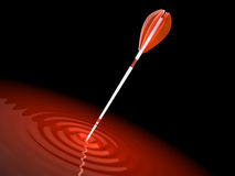 Red arrow hit the mark, makes a wave Stock Images