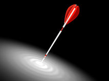 Red arrow hit the mark, makes a wave Royalty Free Stock Photos