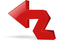 Red arrow icon. Red glossy 3d arrow image Royalty Free Stock Photography