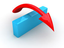 Red Arrow Jumping Over Blue Wall. 3D Concept of jumping or going over a barrier to accomplish goal Stock Images
