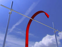 Red Arrow Jumps Above The Barrier Royalty Free Stock Photography