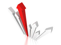 Red arrow leader of forward up group Royalty Free Stock Images