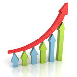 Red arrow leader growing up on bar chart team Royalty Free Stock Photography